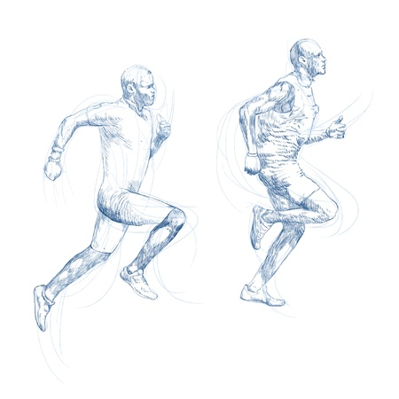 runners, hand drawing converted Illustration