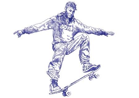skateboard park: skater, dibujo a mano convierten