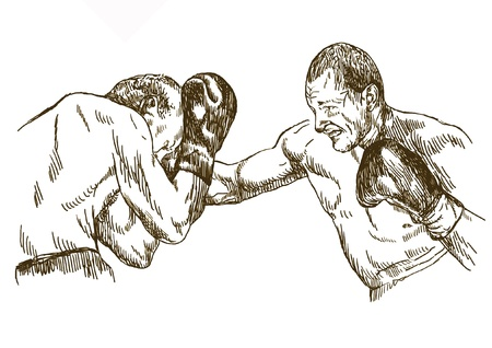 pugilism: boxing match , hand drawing converted