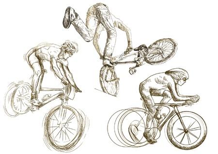 자전거 스포츠 손 스케치의 작은 컬렉션을 그리기