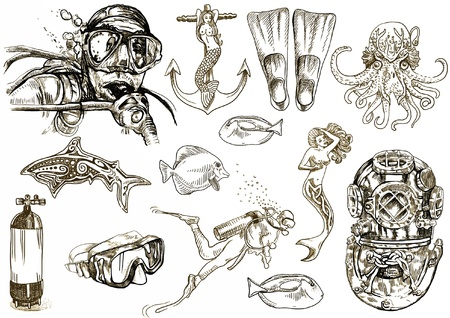 scuba diving: diving - the life of aquatic  hand drawing collection   Illustration