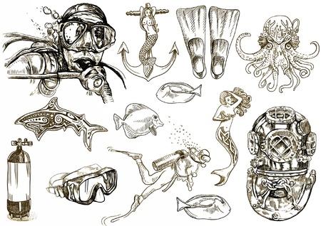 duiken - het leven van in het water levende hand tekening collectie Vector Illustratie