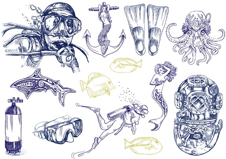 scuba mask: diving - the life of aquatic  hand drawing collection   Illustration