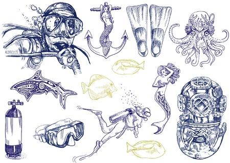 scuba diving: duiken - het leven van in het water levende hand tekening collectie