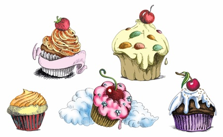 cherry pie: cupcakes - muffins, hand drawing