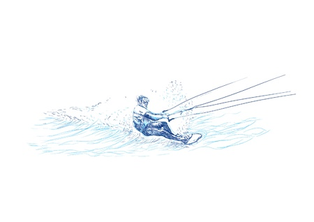 water skiing: water skiing - racer, hand drawing