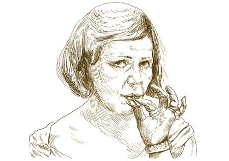 women smoking: Fumar marihuana conjunta - Dibujo a mano convertida en el vector