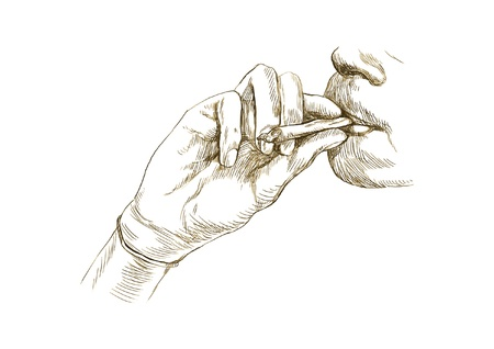 hashish: Smoking marijuana joint - Hand drawing converted into vector  Illustration