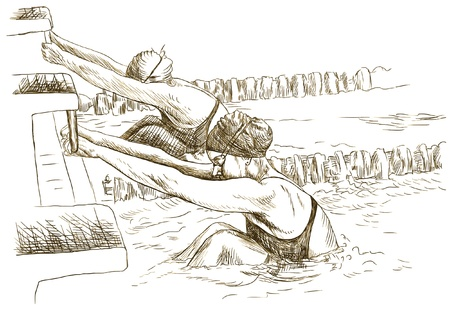 winner man: Swimmers at the start - Hand drawing picture into vector Illustration
