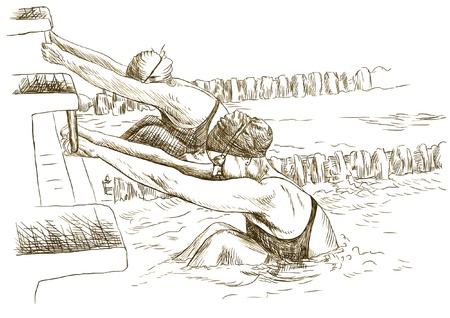 Los nadadores en el inicio - Imagen Dibujo a mano en el vector