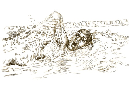 Swimmer, crawl - Hand drawing picture into vector  Vector