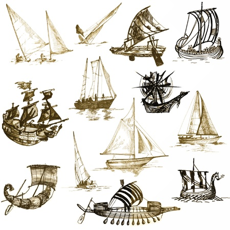yacht isolated: historic ships, drawings converted to vector