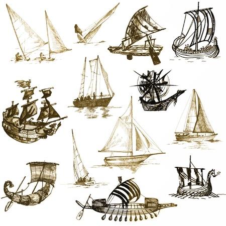 bateau: navires historiques, dessins convertis en vectoriel