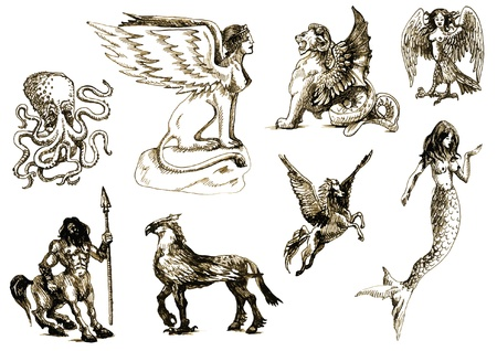 A large series of mystical creatures  Drawings into vector  Vector
