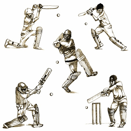 youth sports: hand-drawn series - CRICKET