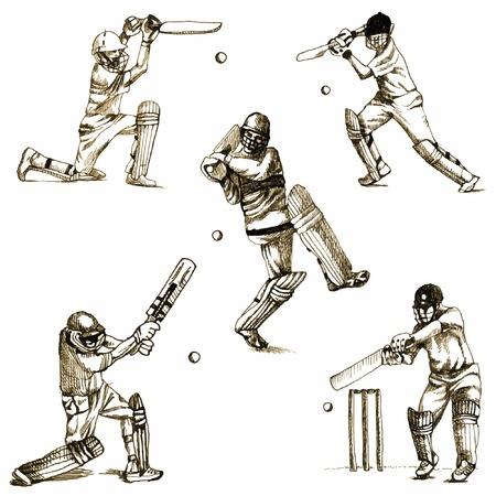 buiten sporten: met de hand getekende serie - CRICKET
