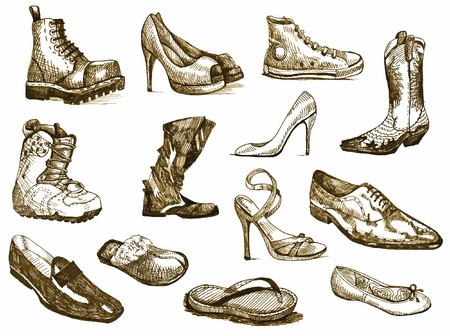 shoes of dreams - hand drawings converted into vector  Stock Vector - 14566474