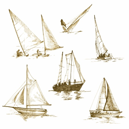 yacht isolated: yachts, drawings converted into vector