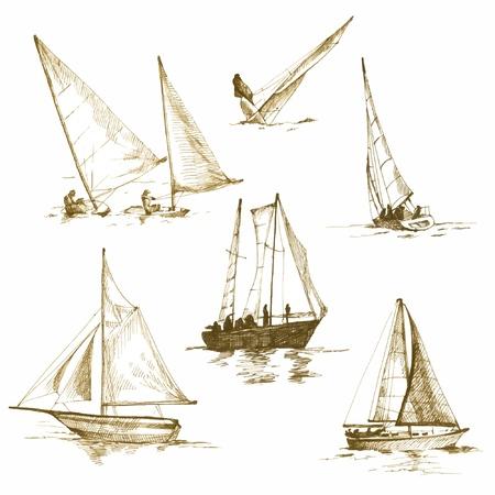 yacht isolated: yates, dibujos convertido en vector Vectores