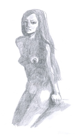 artistic nude: naked woman, hand drawing  original , pencil technique Stock Photo