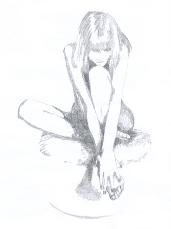 naked woman, hand drawing  original , pencil technique Stock Photo - 14584928