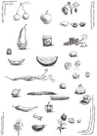 fruit trade: fruits and vegetables, collection - sketches, hand drawing, black marker