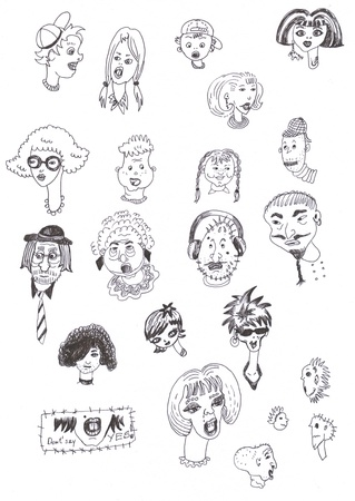 doodling: faces, cartoon characters, original sketch - black marker on white paper