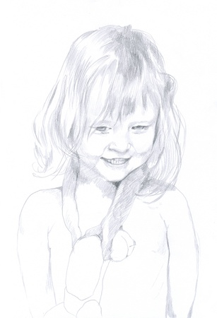 archaically: little girl, original - hand drawing, pencil technique Stock Photo