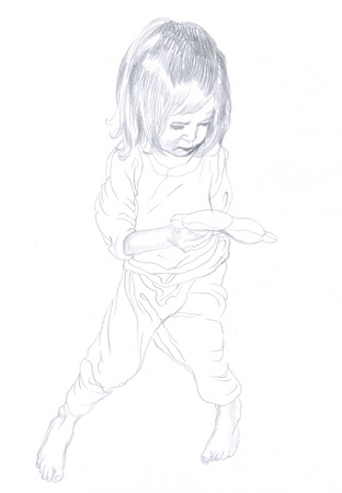 academic touch: little girl original - hand drawing, pencil technique Stock Photo