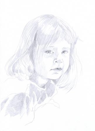 little girl, portrait, original - hand drawing, pencil technique Stock Photo - 14593006