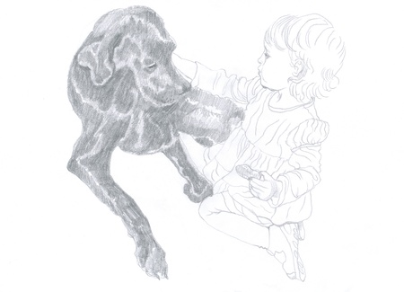 archaically: little girl and black dog, original , pencil drawing Stock Photo