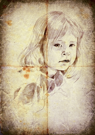 archaically: little girl - hand drawing, vintage and retro style