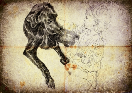 archaically: kid and dog - hand drawing, vintage and retro style