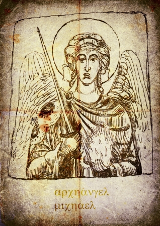 michael: The first image from a series of Angels. Archangel Michael. - Pencil drawing.