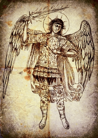 archaically: The second image from a series of Angels. Archangel Uriel. - Pencil drawing.