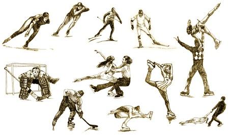 winter sports - hand drawing photo