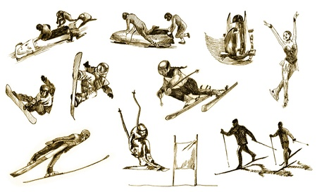 cross country skiing: winter sports - hand drawing Stock Photo