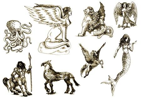 오래 된 종이 시트에 신비한 생물의 큰 시리즈 - 고대 그리스 신화에 따르면, 스톡 사진