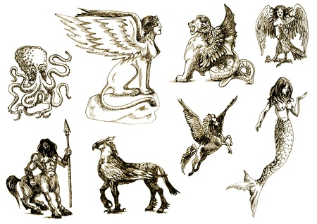 archaically: A large series of mystical creatures on an old sheet of paper - According to ancient Greek myths