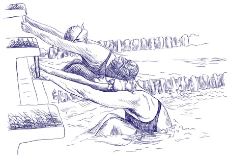 swimmers   drawing photo