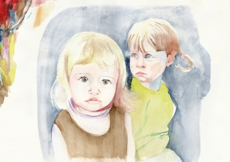 academic touch: two young friends   water colors technique