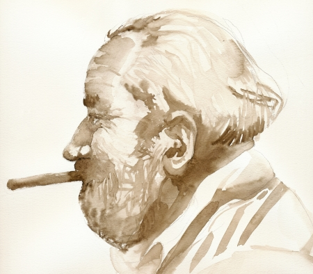academic touch: old man with cigar   watercolors technique Stock Photo