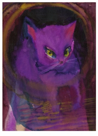 violet cat   watercolors technique Stock Photo - 14566456