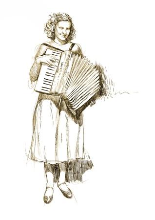giovane donna con la fisarmonica - tema vintage - disegno in vettoriale