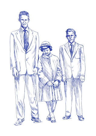 girl and two boys, three siblings - hand drawing picture  Stock Photo - 14686564