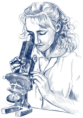 hospice: girl with a microscope - hand drawing picture