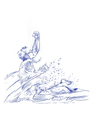 strengthening: canoeing, the winner - hand drawing picture  Stock Photo