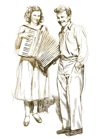 woman with an accordion and a young man - hand drawing  Illustration