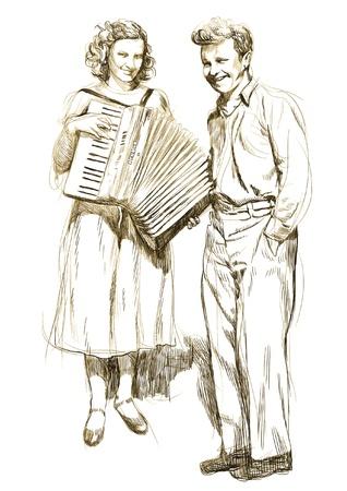 acordeón: mujer con un acordeón y un joven - Dibujo a mano Vectores