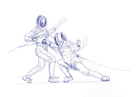 fencing - hand drawing picture into vector Stock Vector - 14686647